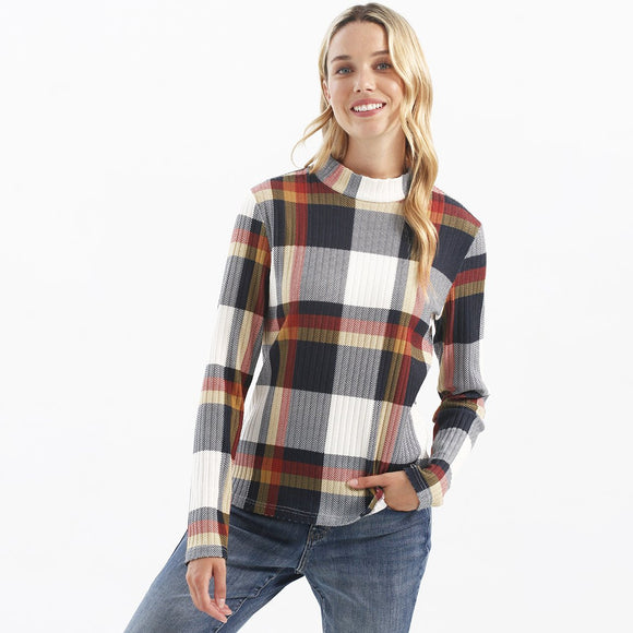 Plaid Rib Knit