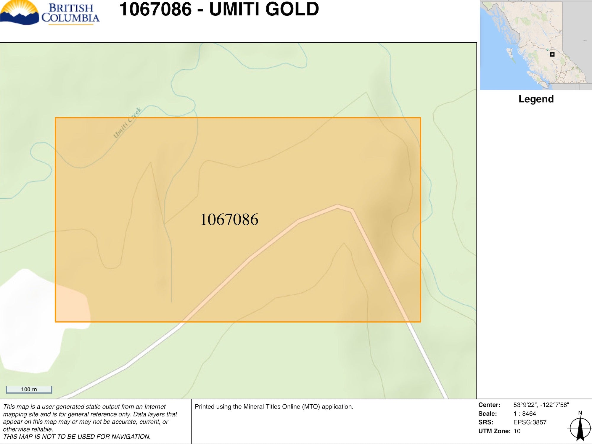 Umiti Creek BC Gold Claim Map