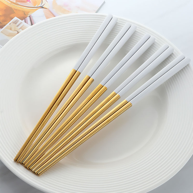Luxury White Gold Chopsticks 5PCS