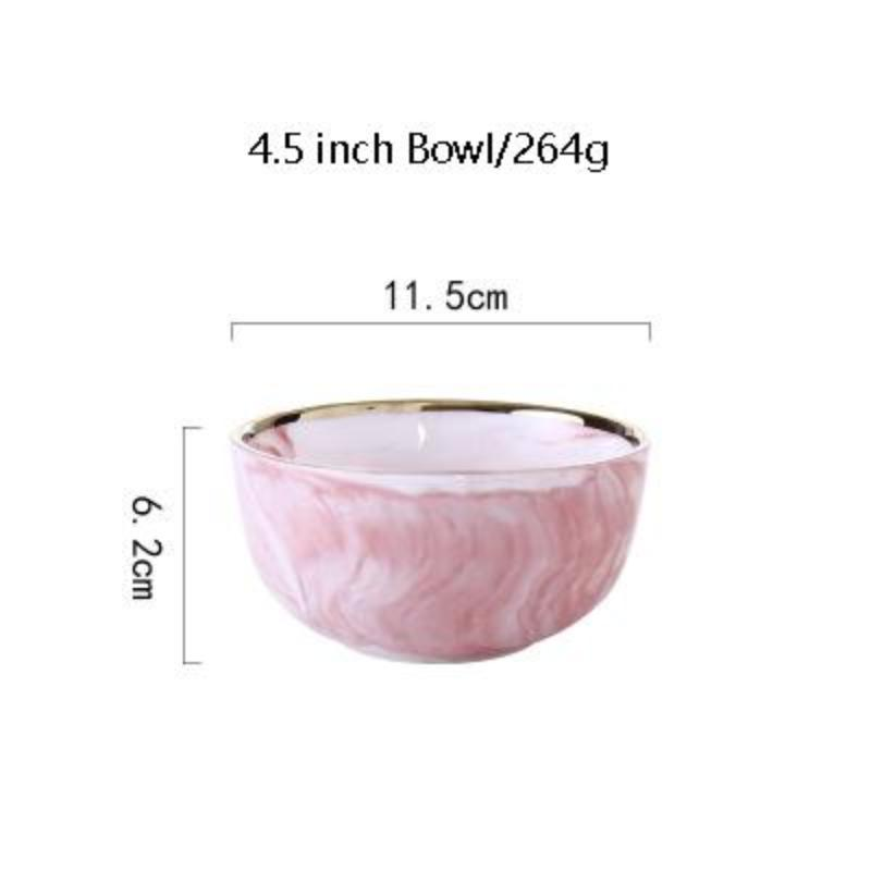 Luxury Marble Pink Ceramic Tableware