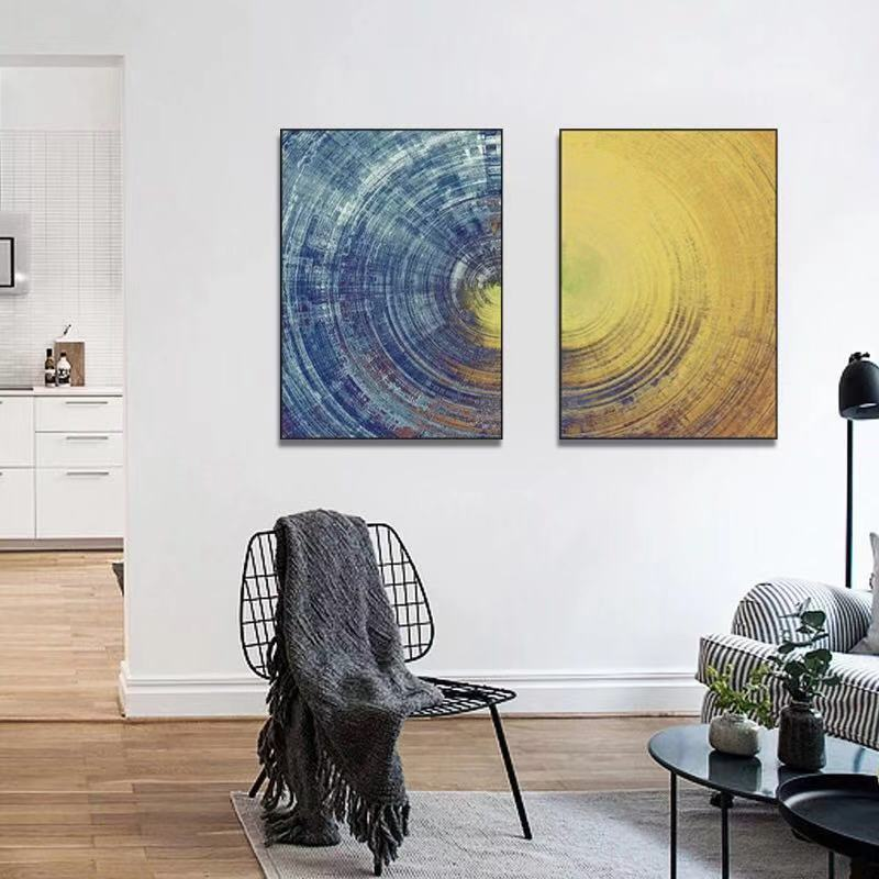 Yellow Blue Abstract Canvas Wall Art