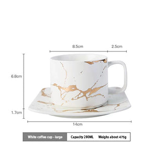 Nordic Style Marbled Gold Ceramic Mug