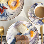 European Marbled Gilt Ceramic Plate