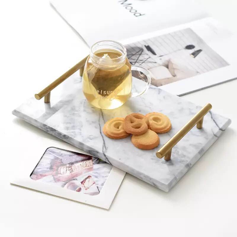 Nordic Style Natural Marble Pattern Tray