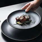 Black Crystal Frosted Ceramic Plate