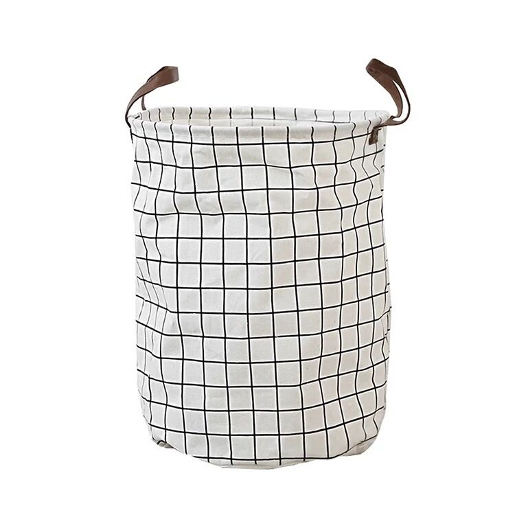 Nordic Style Black And White Plaid Storage Basket