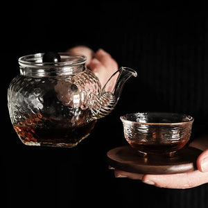 Wooden Handle Glass Teapot