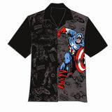 Captain America Two-Tone Hawaiian Camp Mens Shirt