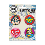 Wonder Woman Supergirl Button Set