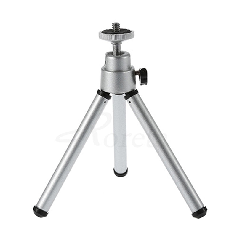 1/4 Screw Ball Head Mini Portable Table Tops Tripod Aluminum Lightweight + Mobile Phone Clip Protector Cap For Camera Phone - zorrlla