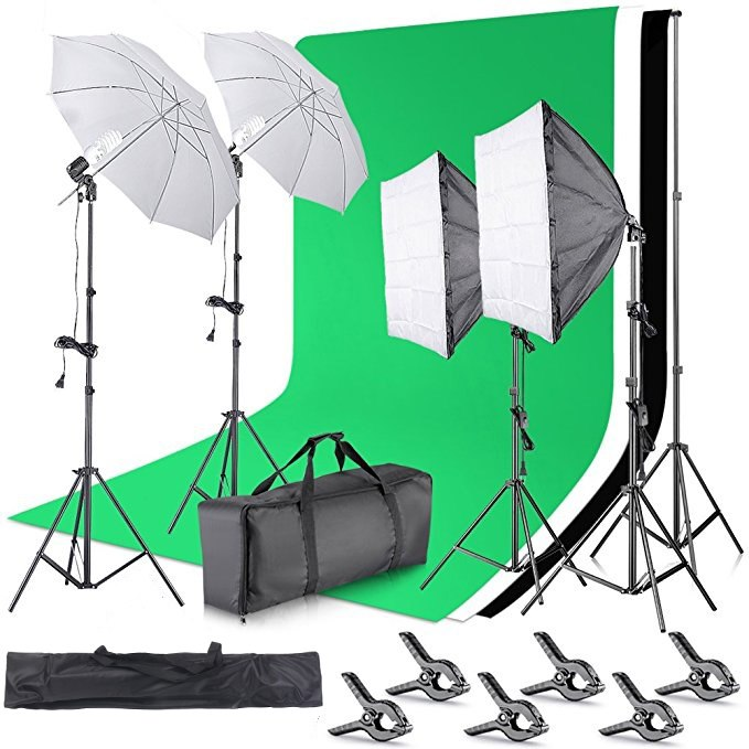 2.6M x 3M/8.5ft x 10ft Background Support System and 800W 5500K Umbrellas Softbox Continuous Lighting Kit - zorrlla