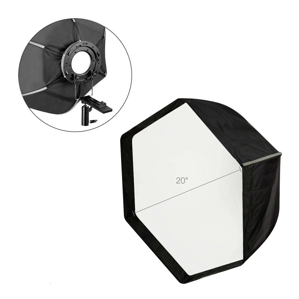 "20"" Hexagonal Photo Studio Softbox Reflector with White Diffuser Cover and Carry Case for Flash , Photography, and Video - zorrlla"
