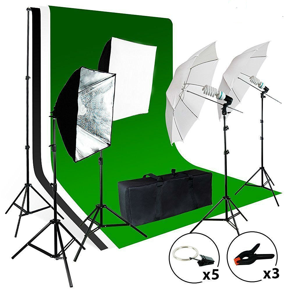 2meter x 3meter Background Support System, 800W 5500K Umbrella Softbox Lighting Kit for Photo Video Shooting Photography Studio - zorrlla
