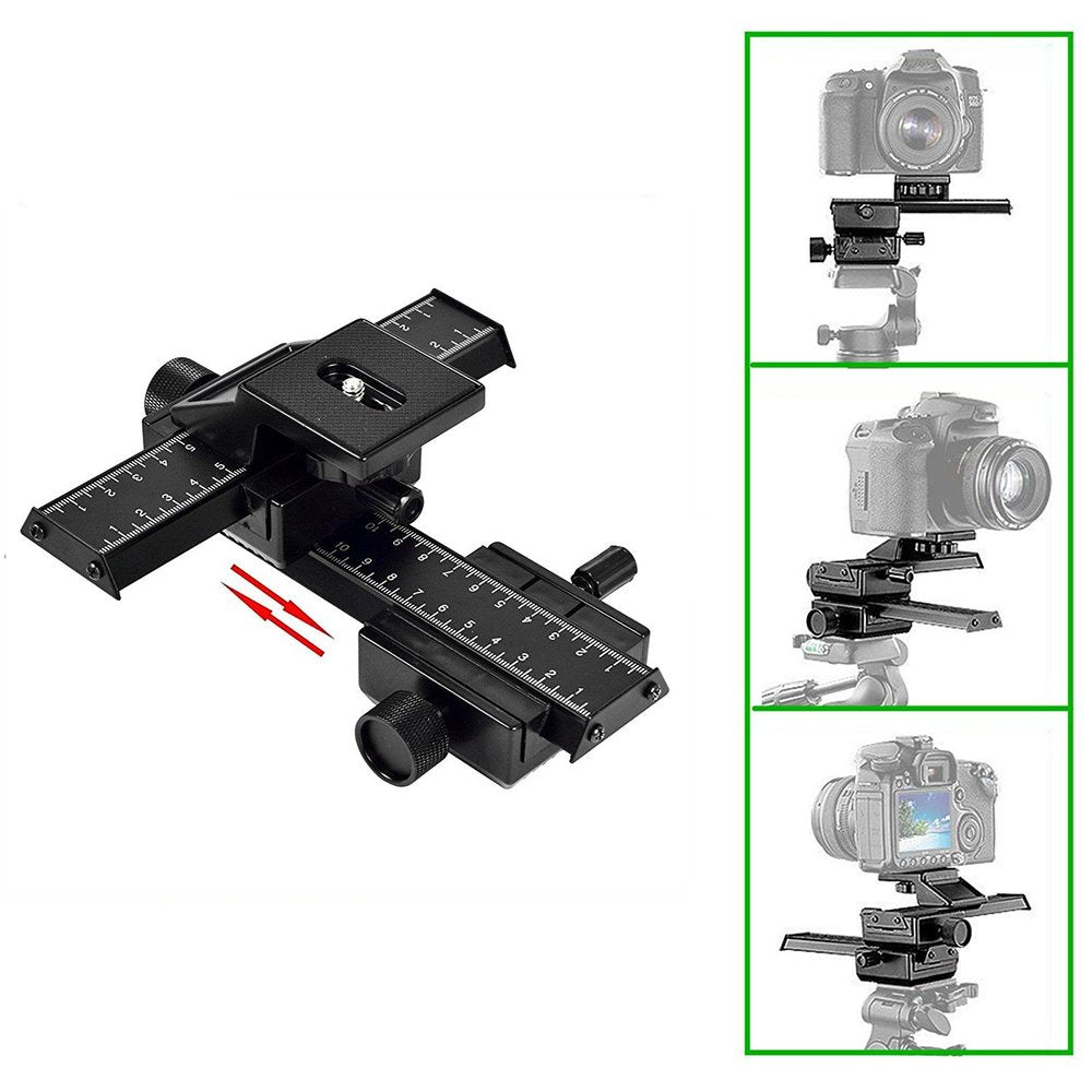 4-Way Macro Focusing Focus Rail Slider/Close-Up Shooting for Digital SLR Camera with Standard 1/4-Inch Screw Hole - zorrlla
