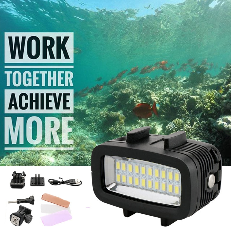 40m Underwater LED Video Light For Gopro Waterproof Diving Lamp Super Bright Accessories for GOPRO SJCAM Sports Action Camera - zorrlla