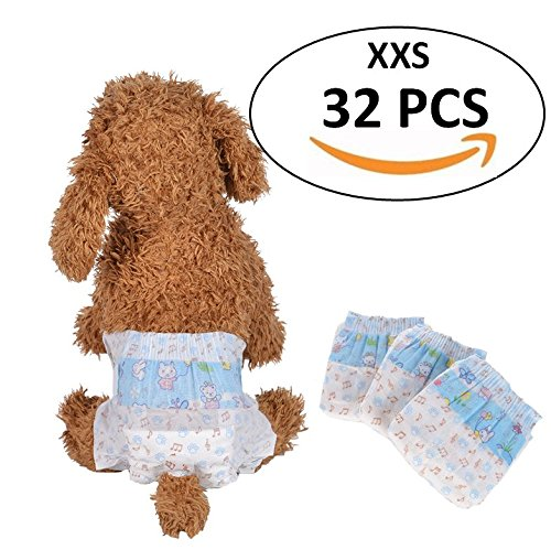 Bailuoni Disposable Female Dog Diapers printing dog diapers female small- 32PCS (XXS) - zorrlla