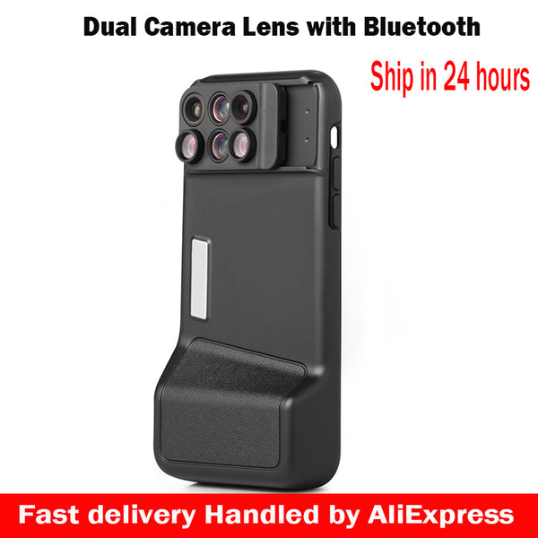 6 in 1 Dual Camera Lens For iPhone X 10 10X/20X Zoom Macro Lens Telescope Lens +Bluetooth+Phone Case For iPhone X - zorrlla