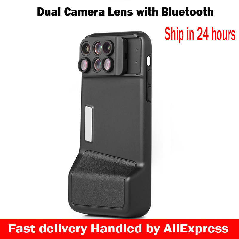 promo code 51ca2 9d36d 6 in 1 Dual Camera Lens For iPhone X 10 10X/20X Zoom Macro Lens Telescope  Lens +Bluetooth+Phone Case For iPhone X