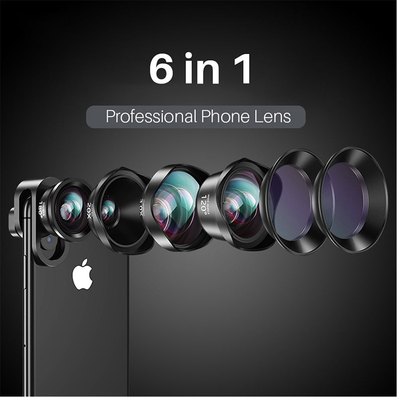 6 in1 Universal Mobile Camera Lenses Star Filter CPL Wide-Angle Macro Telephoto Fisheye for iPhone XS X 7 Xiaomi Huawei p20 pro - zorrlla