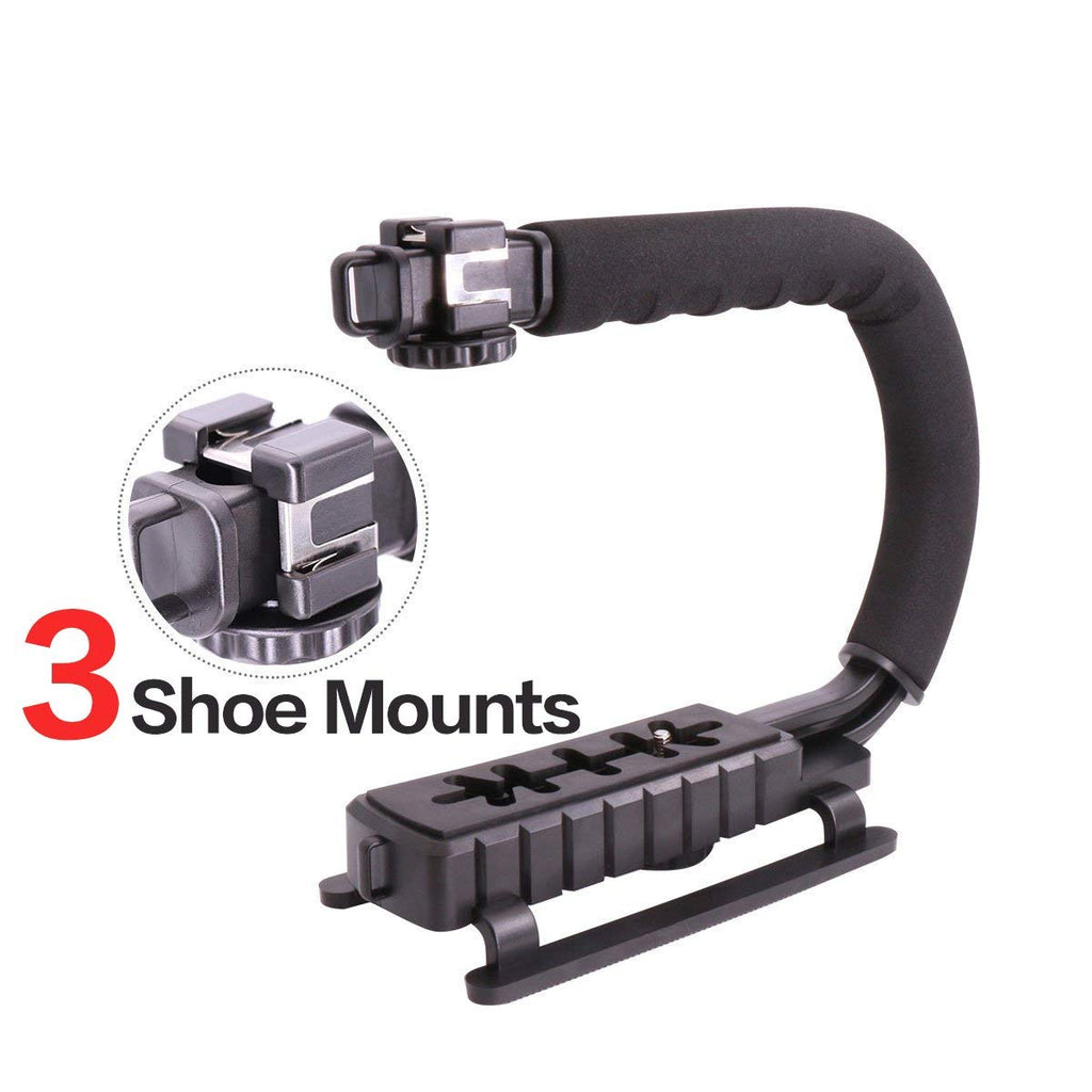 Triple 3 Shoe Mounts Video Action Stabilizing Handle Grip Rig for iPhone 7 Plus Canon Nikon Sony DSLR Camera / Camcorder - zorrlla