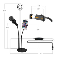 3 in 1 Broadcast Mic Stand With Selfie Ring Light Cellphone