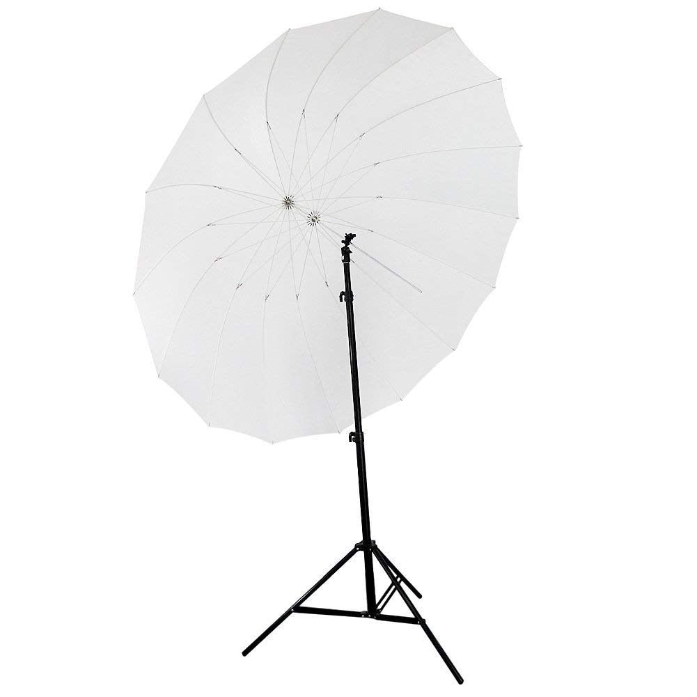 "72""/185cm White Diffusion Parabolic Umbrella 16 Fiberglass Rib 7mm Shaft, includes Portable Carrying Bag - zorrlla"