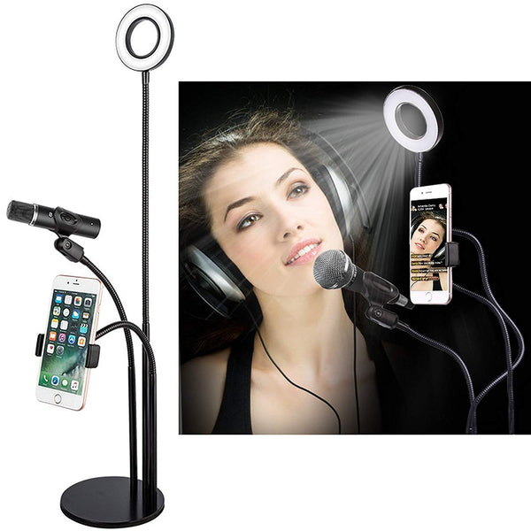 3 in 1 Broadcast Mic Stand With Selfie Ring Light Cellphone Stand Microphone Holder for Live Stream 3 Light Color with Adjustment Gooseneck Weigted Base For iPhone X,8 Samsung S9 Note 8 - zorrlla