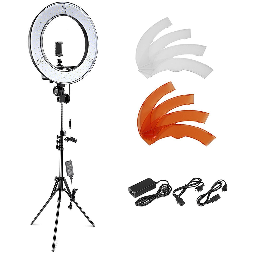 Camera Photo Video Lighting Kit: 18 inches/48 centimeters Outer 55W 5500K Dimmable LED Ring Light, Light Stand - zorrlla