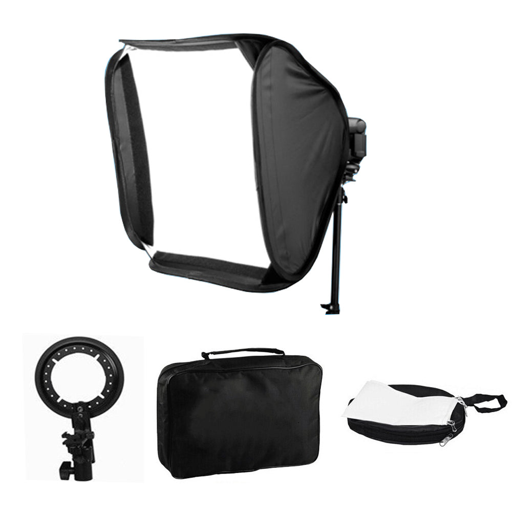 Collapsible 24x24 inches/60x60 CM Softbox with S-type Bracket Mount for Speedlite Studio Flash Monolight - zorrlla