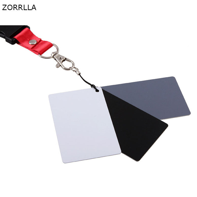 Custom Calibration Camera Checker Cards 3in1 3 In 1 Digital Grey Card White Black 18% Gray Color White Balance Strap - zorrlla