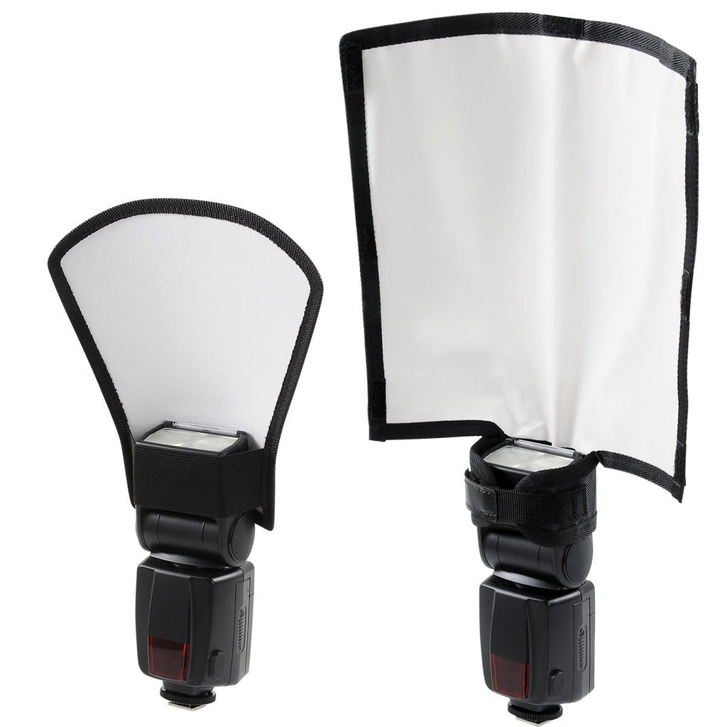 Flash Diffuser Reflector Kit - Bend Bounce Positionable Diffuser + Silver/White Reflector for Speedlight, Universal Mount - zorrlla
