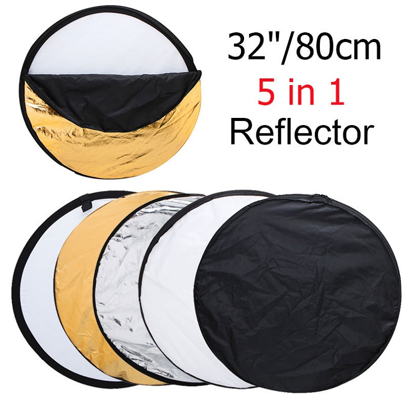"Zorrlla 80cm 32"" Round Photography Reflector 5 in 1 Collapsible Multi-Disc Studio Light Reflector with Zipped Round Carrying Bag - zorrlla"