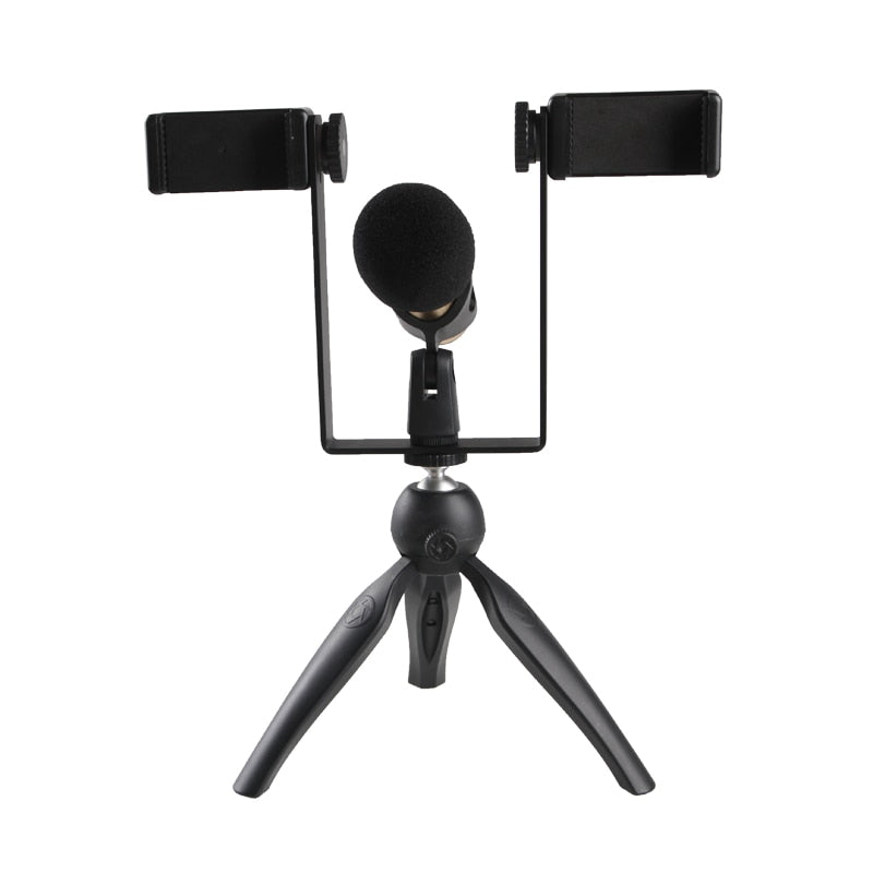 Phone Live Stream Tripod Kit Smartphone Tabletop Tripod Mount Stand w Microphone Cold Shoe for iPhone Youtube Facebook - zorrlla
