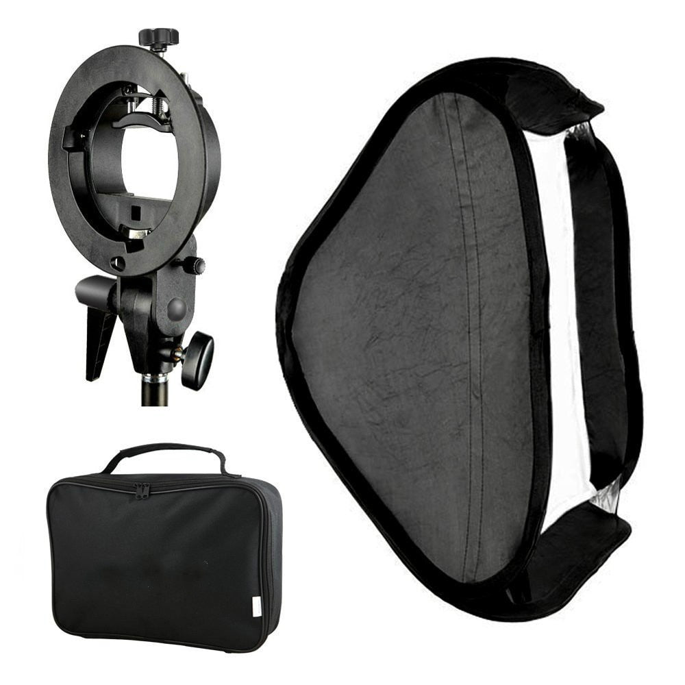 Photo Studio Multifunctional 24x24 inches/60x60 centimeters Softbox with S-type Speedlite Flash Bracket Mount and Carrying Case - zorrlla