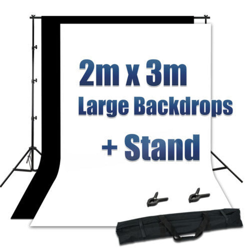 Photography Photo White Black Backdrop Screen Background Stand Kit - zorrlla