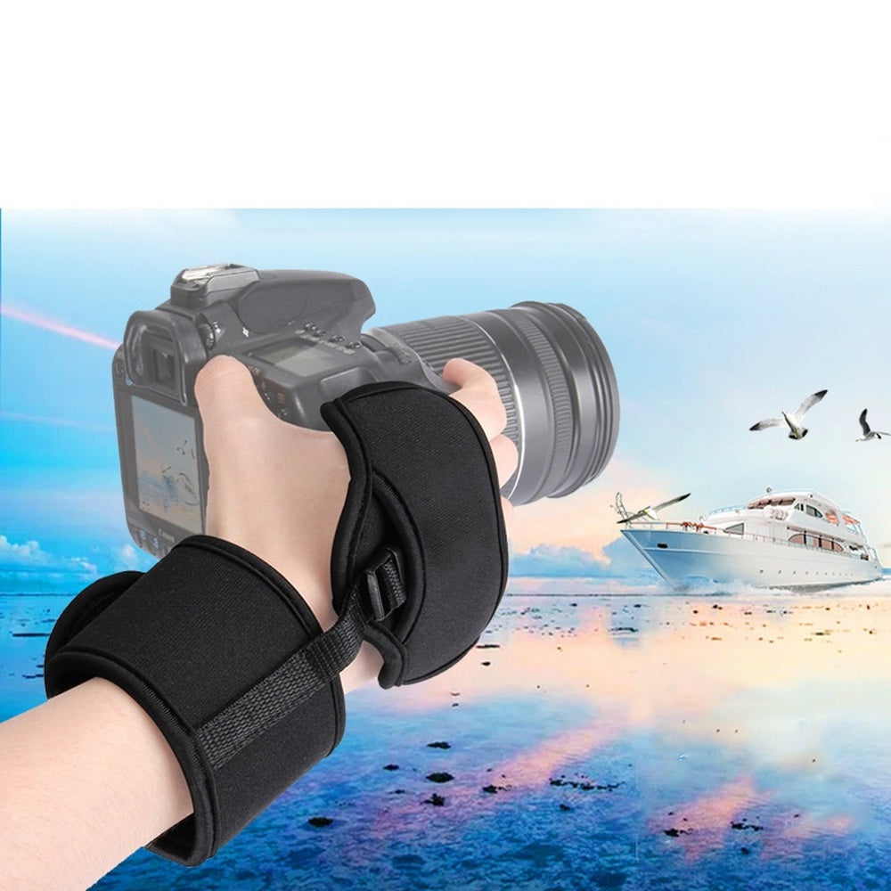 Professional Camera Grip Hand Strap with Black Padded Neoprene Design and Metal Plate - Works With Cameras - zorrlla