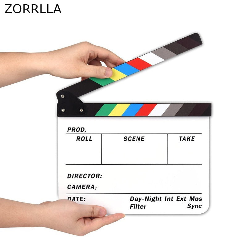 Professional Studio Camera Photography Video Acrylic Dry Erase Director Film Clapboard Clapperboard (9.85x11.8 inch) - zorrlla