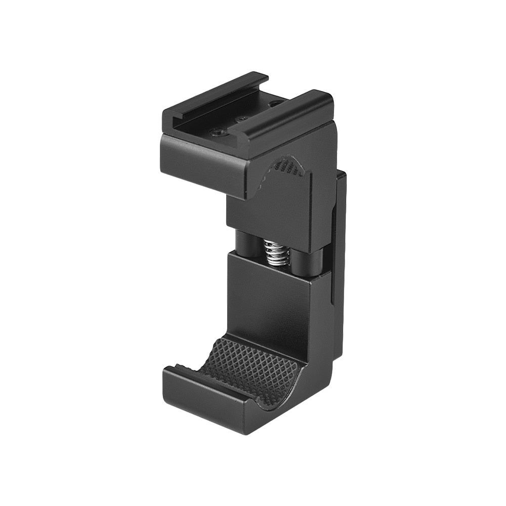 "Q12 Adjustable Aluminum Alloy Phone Holder Clip 1/4"" Screw Holes with Cold Shoe Socket for iPhone Samsung Huawei Xiaomi 63-90mm - zorrlla"