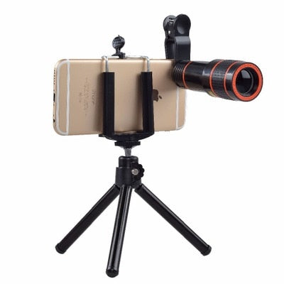 Smartphone Tripod with 12X Optical Zoom Telephoto Lens No Dark Corners Mobile Phone Camera Telescope lens - zorrlla