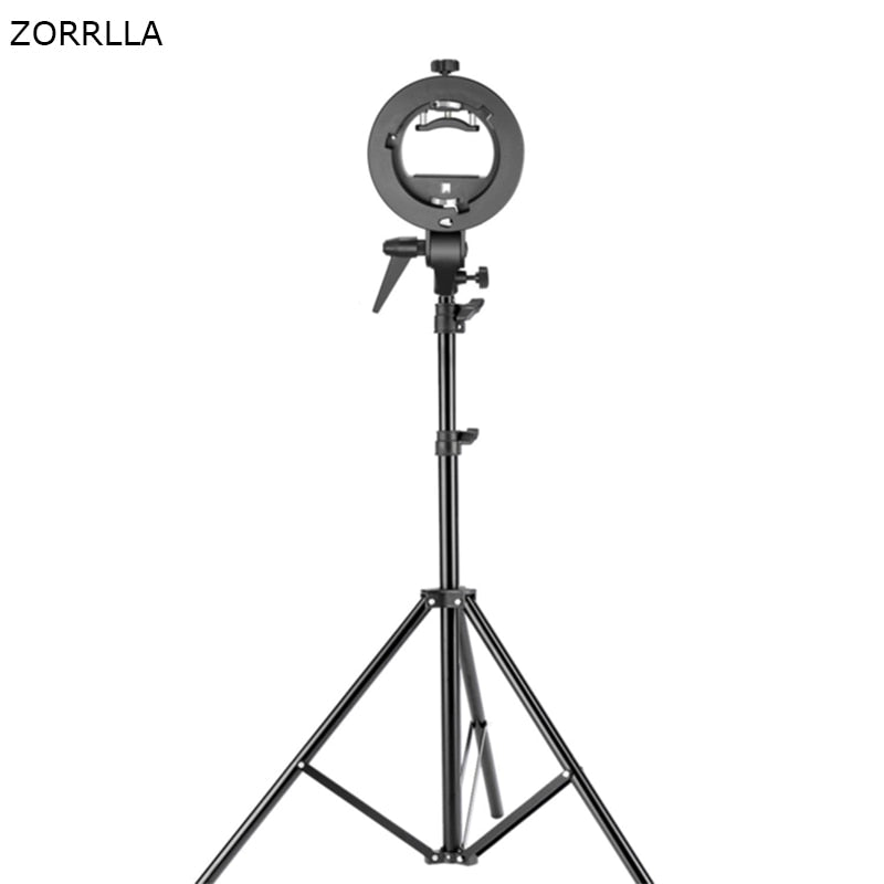 Studio Photography S-Type Speedlite Bracket Holder with Bowens Mount and 78.7 inches/200 centimeters Adjustable Light Stand - zorrlla