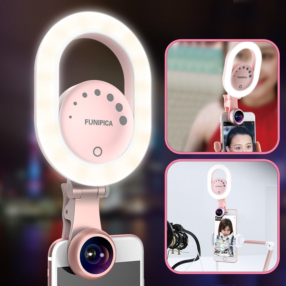 Zorrlla Live Stream Selfie Light with Wide Angle Lens Clip-on Rechargeable LED Ring Light for iPhone X/8/7 Plus Smartphone Tablet - zorrlla