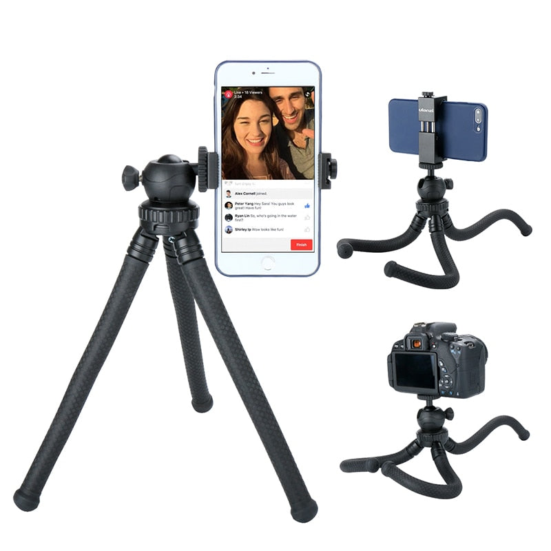 Zorrlla Mini Octopus Tripod Flexible Phone Tripod with Detachable Ballhead Phone Clip for iPhone Samsung DSLR Camera Smooth Q DJI - zorrlla