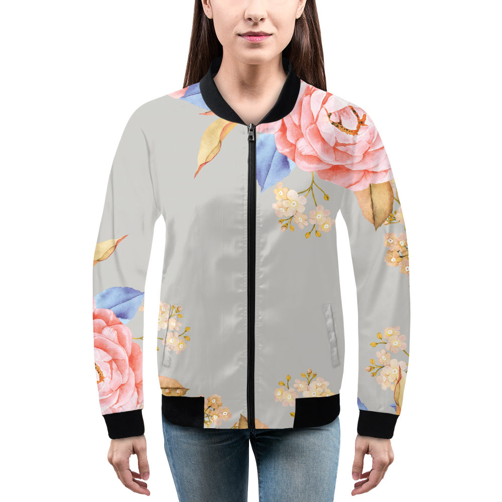 Grey Floral Women's Bomber Jacket