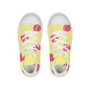 Yellow Strawberry Little Kids Hightop Canvas Shoe
