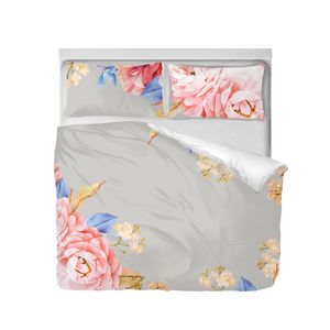 Grey Floral Duvet Cover Set (King)