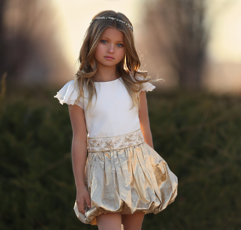 Golden Spring Bubble Dress