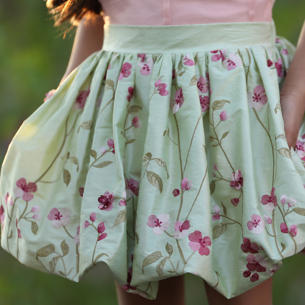 Cherry Blossom Bubble Skirt Natural Silk