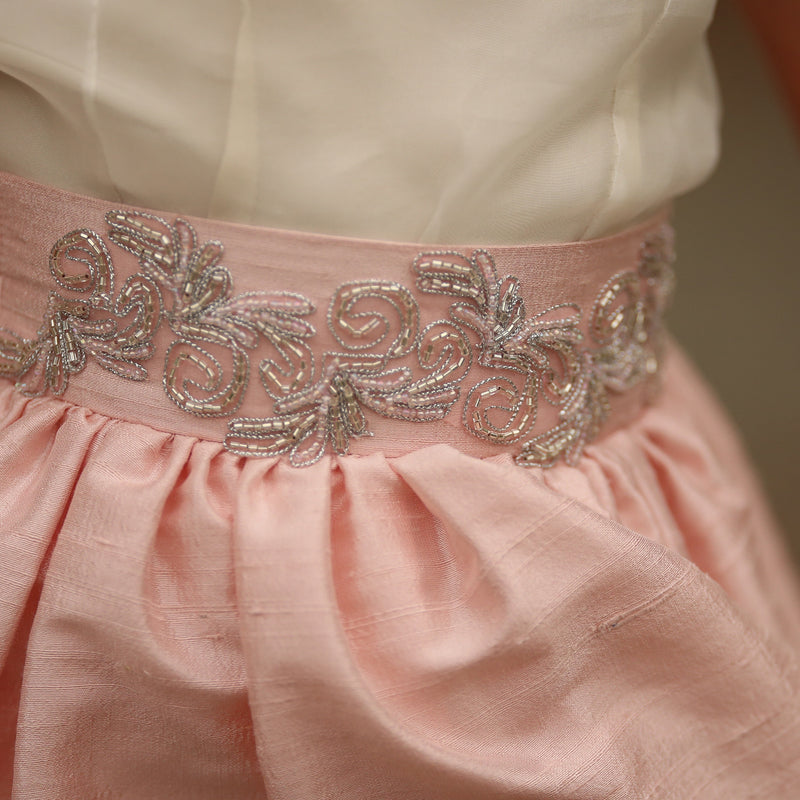 Blush Silk Doll Skirt - Pink Swirls Design