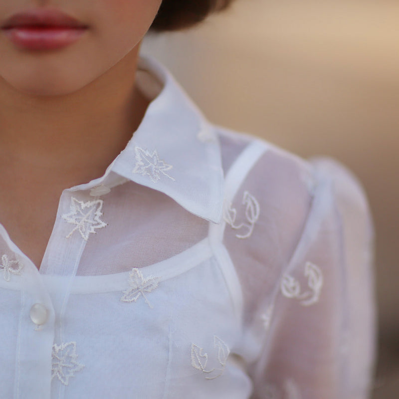 Falling Leaves Organza Silk Blouse