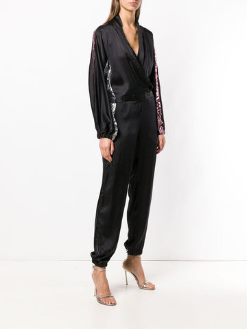 Coup de Coeur London Silk jumpsuit with metallic inserts